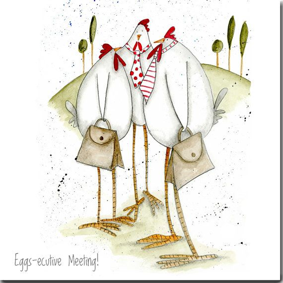 New job card funny chickens 39 eggs ecutive meeting 39 blank inside affiches poule dessin - Poulet dessin ...
