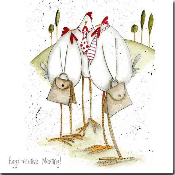Nieuwe projectkaart grappige kippen, 'eieren-ecutive Meeting', blanco binnenin