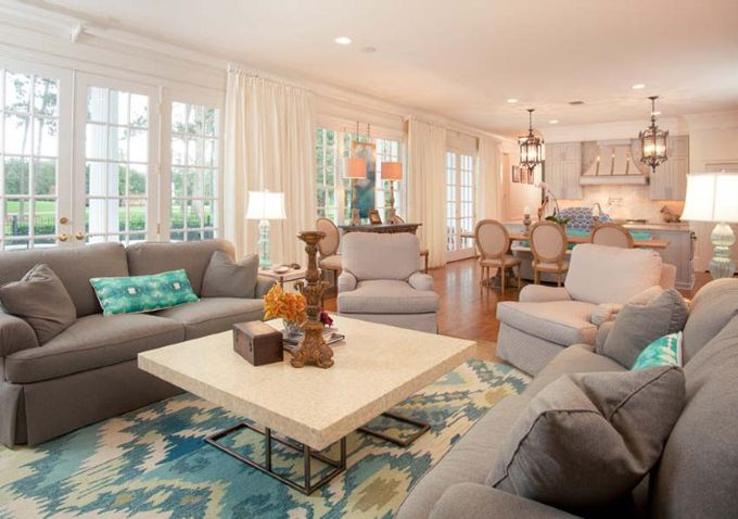 This would look beautiful in our family room   House of Turquoise: Cindy Barganier Interiors | coastal living room