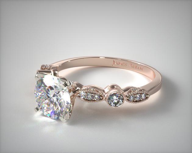 14K Rose Gold Antique Bezel and Pave Set Engagement Ring