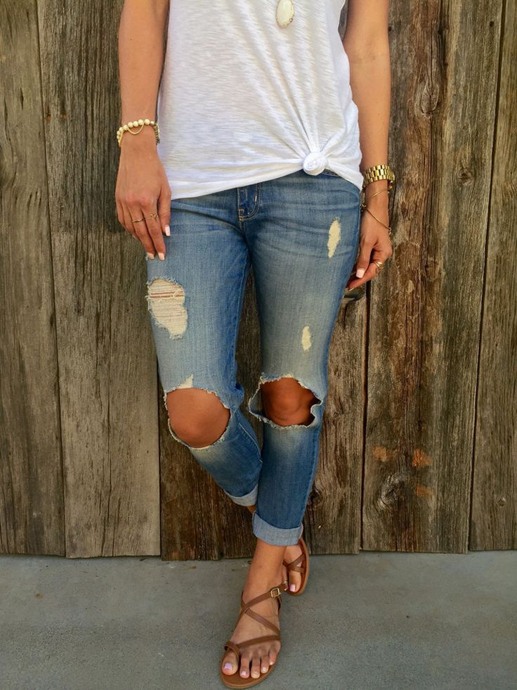 Dark Blue Hole Women's Denim Jeans