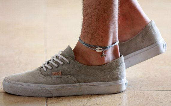 """Men's Anklet - Men's Ankle bracelet - Anklet for Men - Ankle Bracelet For Men - Men's Jewelry - Men's Gray Anklet - Mens Cool Jewelry  Looking for a gift for your man? You've found the perfect item for this!   The simple and beautiful anklet combines 3 layers of gray wax wires and a shell and silver plated whale tail pendant.  Lengh: 9.4"""" (24 cm) + 2"""" (5 cm) extension chain.  $22"""