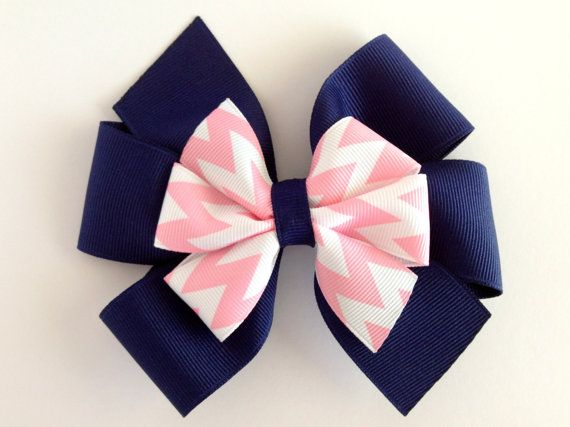 Pink Chevron and Navy Layered Classic Pinwheel Hair Bow for Baby, Infant, Toddler or Girl on Etsy, $5.00
