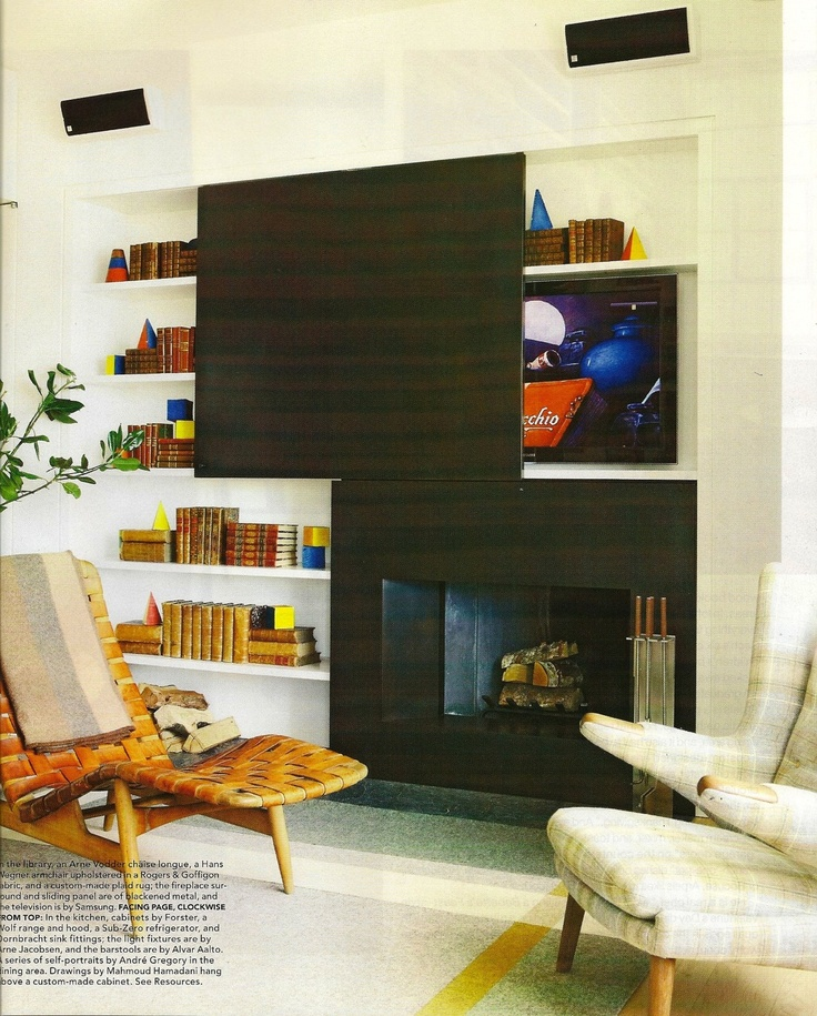 A solution to hide that TV! A sliding panel simply covers it when not in use.