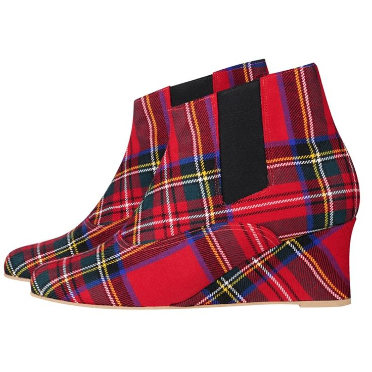 wedge heel tartan ankle boots um but not the price