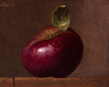 """Daily Paintworks - """"Stayman Apple (literally vs. seriously)"""" - Original Fine Art for Sale - © Abbey Ryan"""