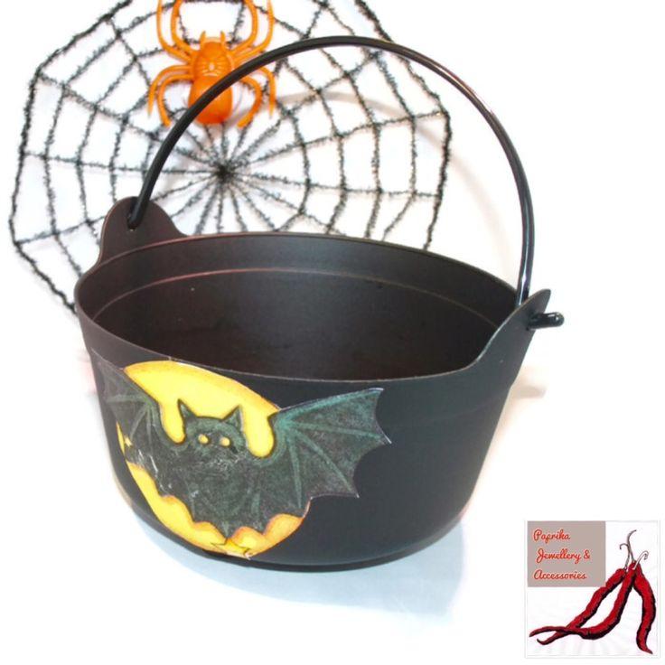 Hand decorated Halloween cauldron hamper for kids