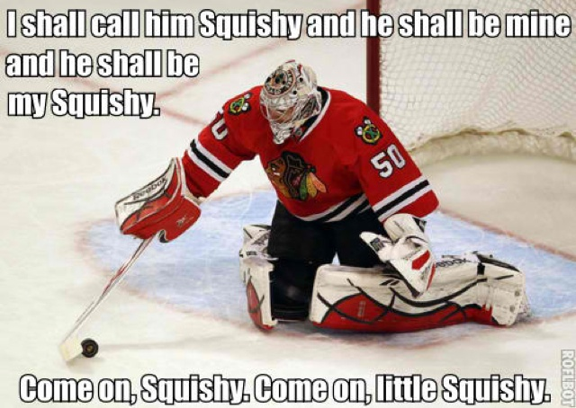 Funny Blackhawks Meme : Corey crawford can somewhat hear him saying this lol