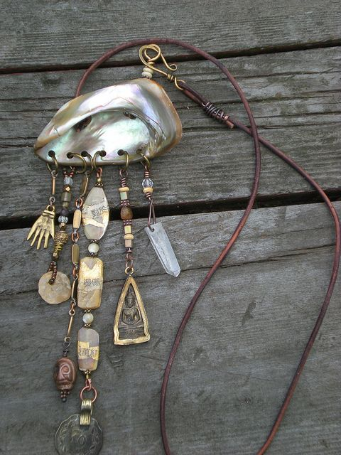 Necklace, Shell collaged mother-of-pearl beads, charms and amulets by Maggie Zee. Dremel holes, use found objects recycled beads, etc