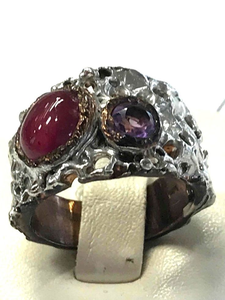 Unique FineArt Jewelry Amethyst Ruby 925 Sterling Silver Ring Sz 6.75