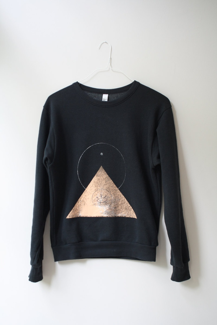 THE PYRAMID.EYE  N.1  /  new age drop shoulder sweater /  black . peach. €58,00, via Etsy. I love everything about this sweatshirt.