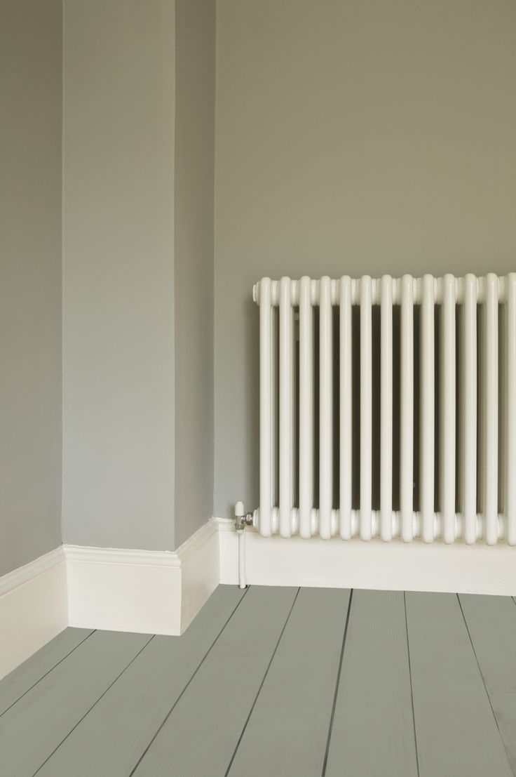 Walls in Farrow & Ball Lamp Room Gray Estate Emulsion, Floor in Pigeon Floor Paint and radiator in Wimborne Estate Eggshell White (We just did the dining room in our own home with almost the same colour scheme)