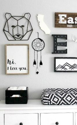 Love this monochrome nursery gallery wall!  Calling all boho babes.. dreamcatchers for the nursery!
