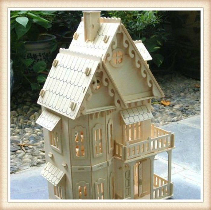 Обучающие 3D Деревянный Дом Игрушки DIY Готический Вилла Дом, Строительство Игрушка Модели Для Детей, бесплатная Доставка