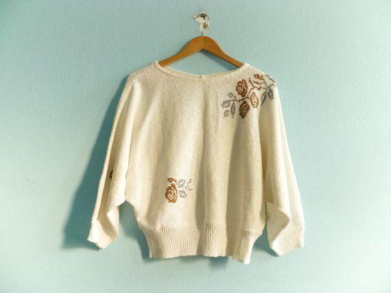 Vintage 80s alas de murciélago suéter top suéter / off blanco / floral / medio