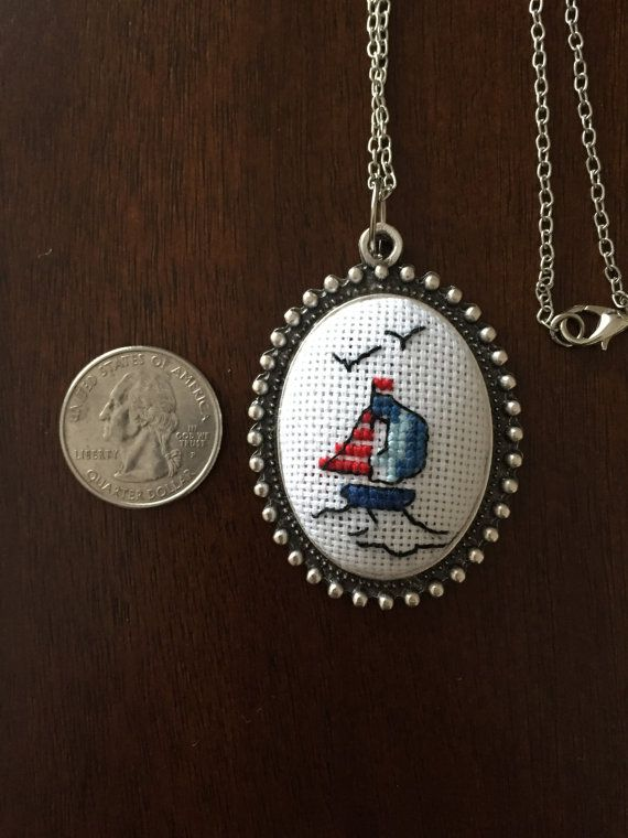 Sailboat cross stitch necklace. Free shipping US only.