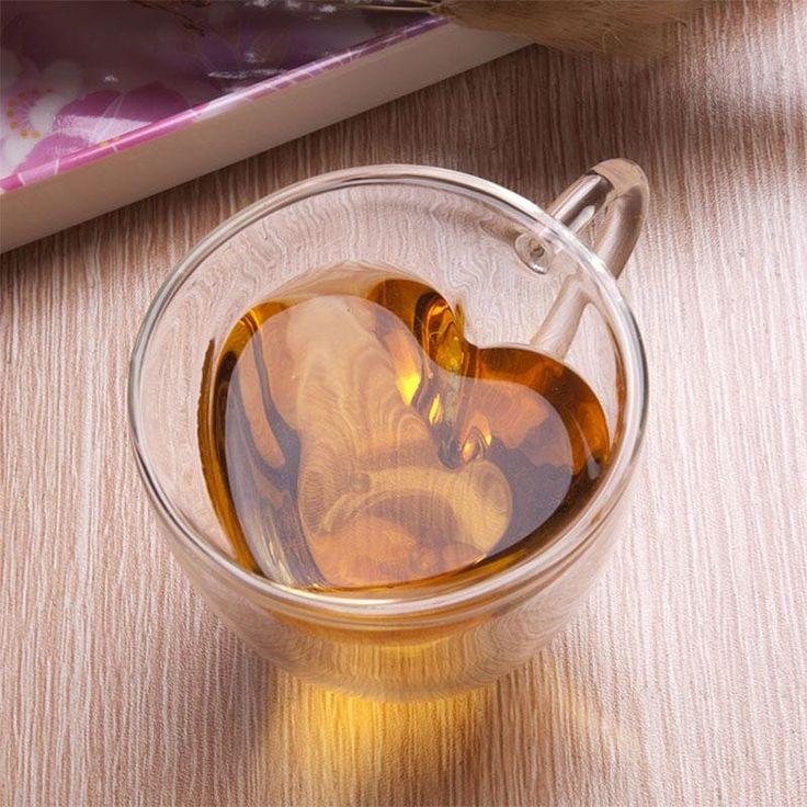 Heart Shaped Double Wall Glass Tea Cup Or Coffee Mug - Blackwater River Emporium - 1