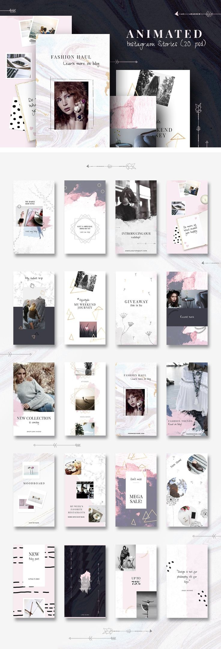 ANIMATED Instagram Stories-Boho chic by CreativeFolks on @creativemarket #AD