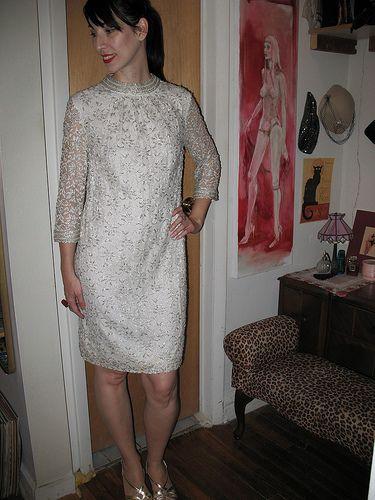 #Dresses ... check it out: http://shop.1960sfashion... ...Vintage White Lace 1960s Beaded Shift Dress