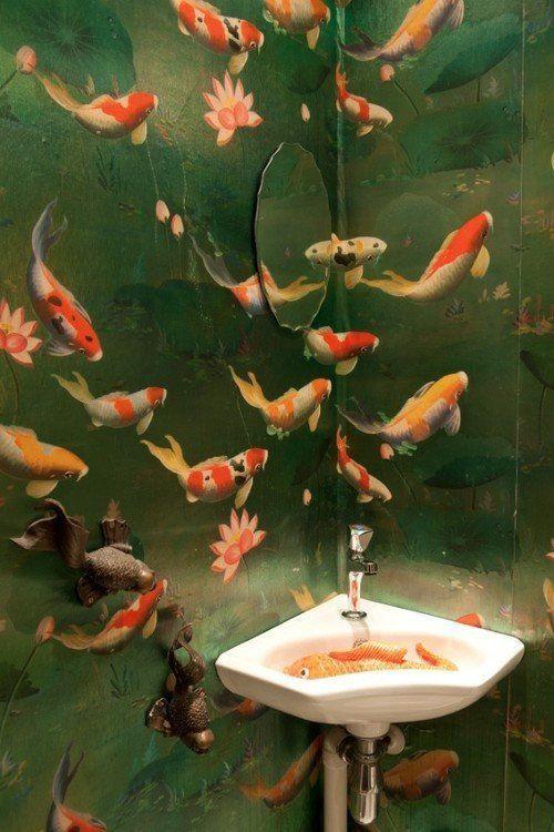 Image result for koi wallpaper bathroom