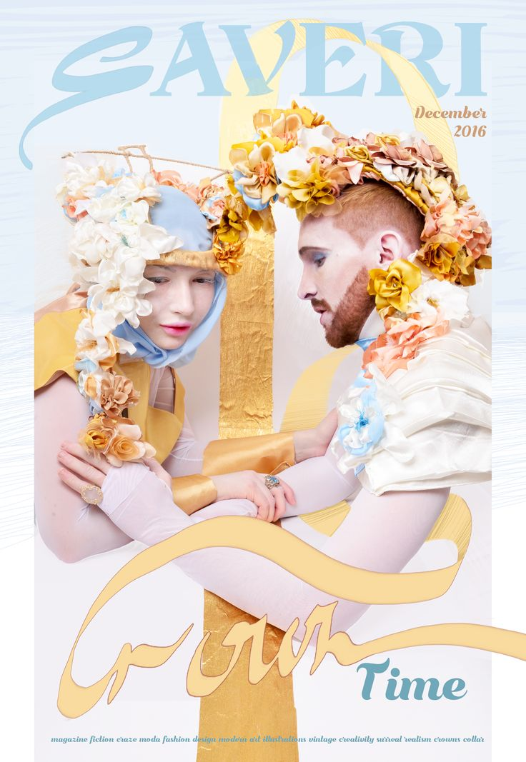 Creativee design of th head piece. Saveri  pret -a-porte 2017 , fashion magazine by Irina Savina. Crown with fabric flowers www.saveri.net