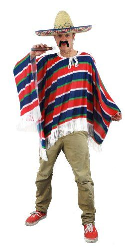 MEXICAN PONCHO FANCY DRESS (NO SOMBRERO) MENS LADIES: Amazon.co.uk: Toys & Games