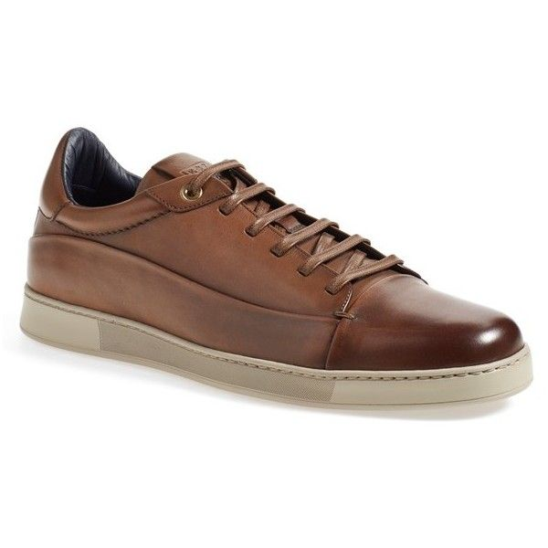 Men's Ermenegildo Zegna Sneaker (€590) ❤ liked on Polyvore featuring men's fashion, men's shoes, men's sneakers, brown leather, mens leather shoes, mens brown leather sneakers, mens sneakers, mens leather sneakers and mens lightweight running shoes