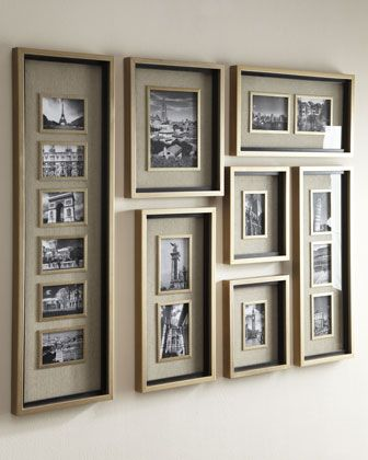 "Handcrafted frame set. Made of fir and wood composite. Lightly antiqued silver-leaf finish and matte black liners. Photos are surrounded by oatmeal-colored linen mats. Holds 11 4"" x 6"" photos, one 8"""