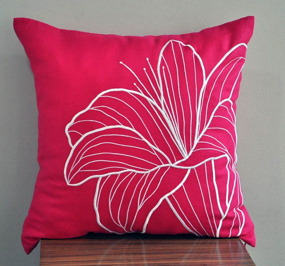 """White Lily Throw Pillow Cover - 18"""" x 18"""" Decorative Pillow Cover - Fuchsia Pink Linen with White Floral Embroidery"""