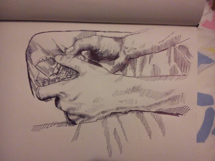 PERSONAL WORK - my 20 minute pen study of a photograph - focusing on hand form and shape