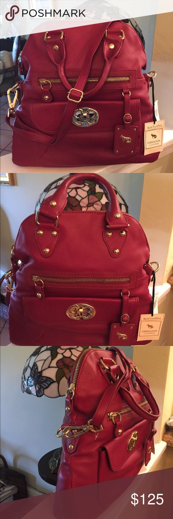 Emma Fox leather classic foldover/crossbody bag Beautiful leather bag. Bordeaux color can be used as a satchel or crossbody Emma Fox Bags Crossbody Bags