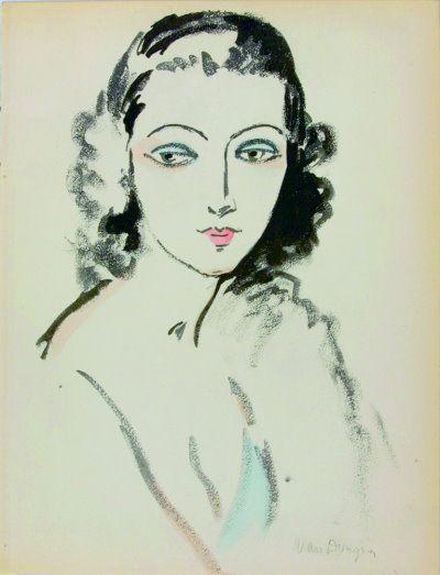 'PORTRAIT DE FEMME' - Pochoir uit Ed. des Courières, 1925 Gesigneerd in de plaat. Afm. 26,5 x 20,5 cm. Afgebeeld in Juffermans 'Kees van Don...