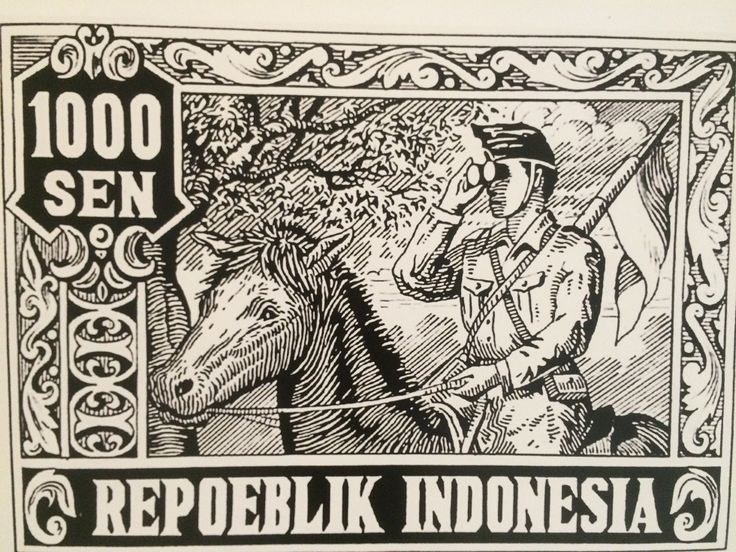 Perangko peringatan satu tahun Republik Indonesia yang terinspirasi dari foto prajurit mengamati medan pertempuran yang diabadikan oleh Mendur bersaudara. (Perangko koleksi Indra Kusuma).