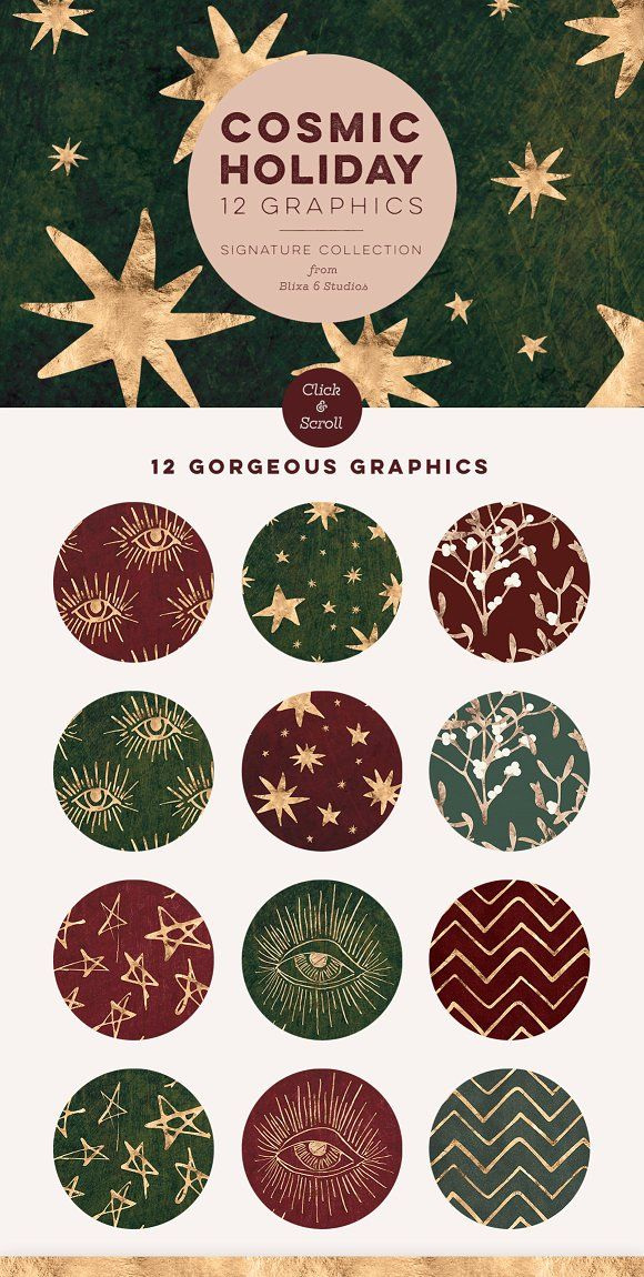 Cosmic Holiday Rose Gold Foil Stars by Blixa 6 Studios on @creativemarket