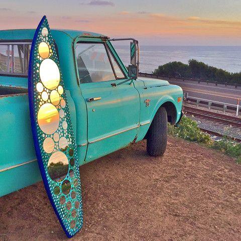 Mirror Mosaic Surfboard Art at Sunset