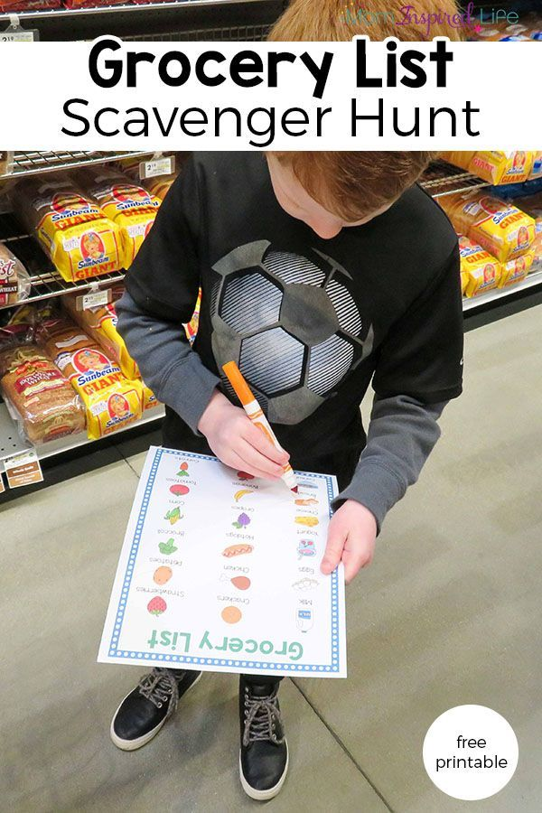 Grocery list scavenger hunt. A fun way to occupy the kids in the grocery store.