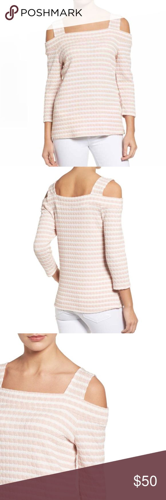 Kut from the Kloth•Stitch Fix Cold Shoulder Stripe Super cute blouse by Kut from the Kloth from Stitch Fix.  Puckered texture softens the crisply striped patterning of a stretch-knit top with trendy cold-shoulder styling. —size Large, excellent preloved condition  —Square neck —Three-quarter sleeves —51% polyester, 47% cotton, 2% spandex —Hand wash cold, line dry Kut from the Kloth Tops Blouses