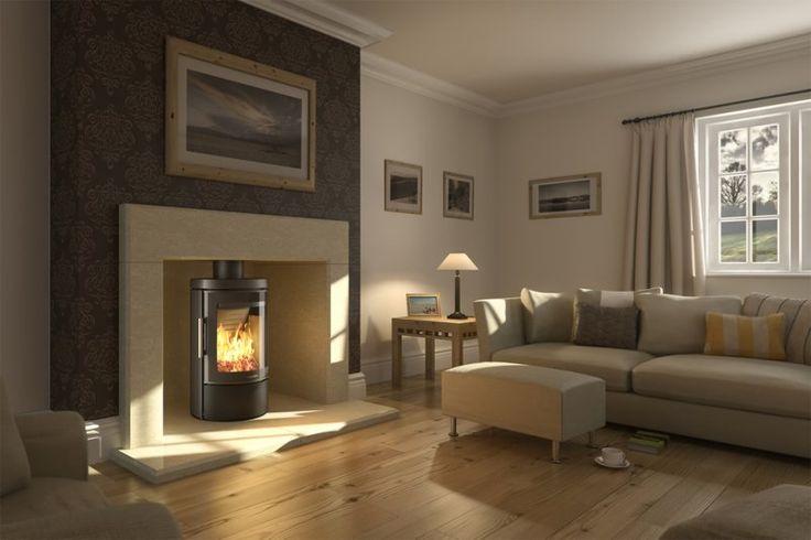 Wood burner fireplace idea - dark chimney breast, wooden floor
