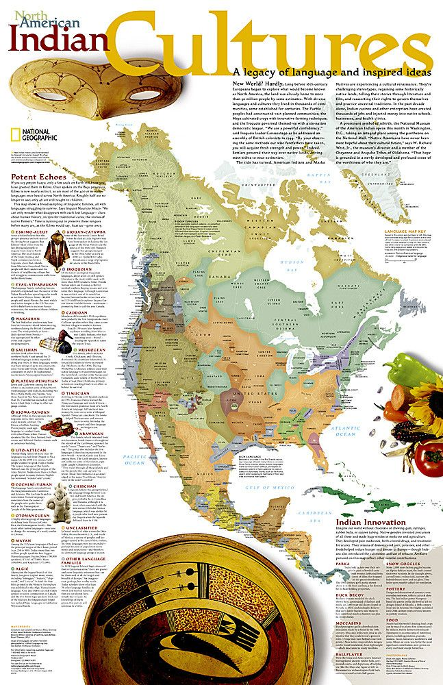 North American Indian Cultures Wall Map by