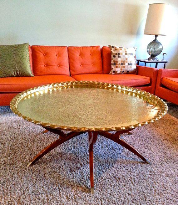 Mid Century Brass Tray Table Top W/Walnut Spider Leg Folding Base.