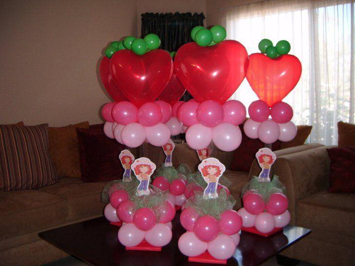 Balloon Strawberry Shortcake centerpieces