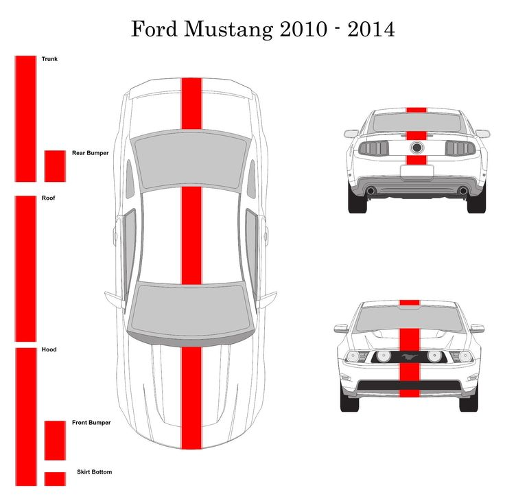 """Ford Mustang 2010 - 2014 10"""" Vinyl Racing Stripe Decal Kit with Pinstripes"""