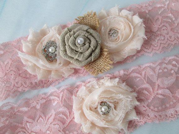 Blush Pink Wedding Garter Set, Rustic Bridal Garters, Shabby Rose Garter, Burlap Garters, Pink Lace Garter, Vintage Country Wedding