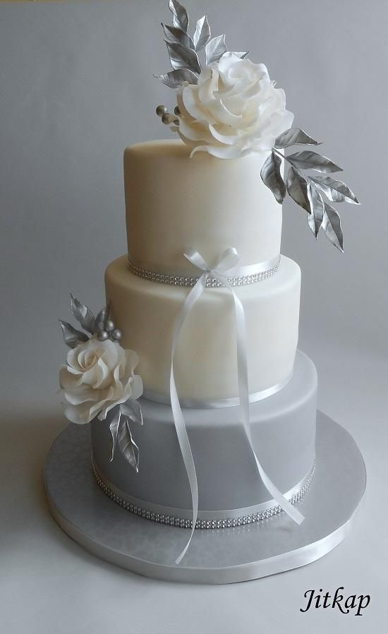 Wedding cake gray and silver by Jitkap - http://cakesdecor.com/cakes/283965-wedding-cake-gray-and-silver