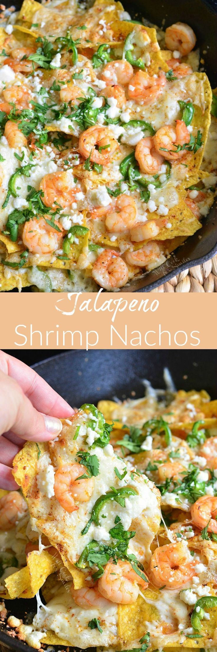 Jalapeno Shrimp Nachos. These cheesy, spicy, delicious shrimp nachos will make a great snack for everyone. These nachos are loaded with two types of cheese, fresh jalapeno peppers, and juicy shrimp.