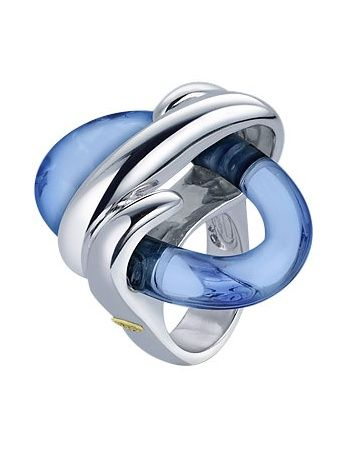 Masini Blue Oval Murano Glass & Sterling Silver Ring.