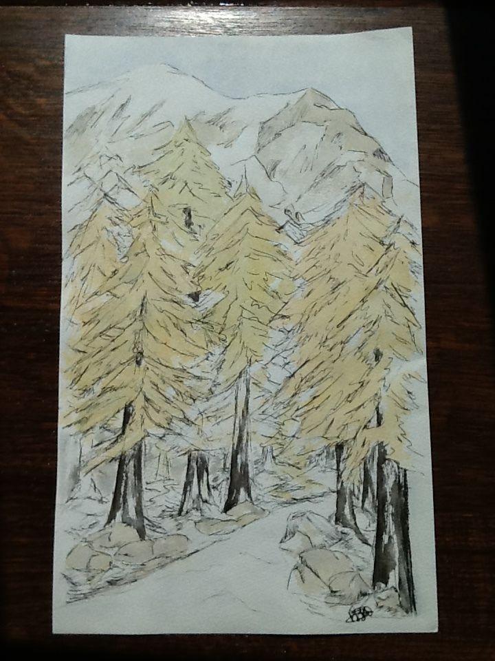 Original ink & watercolor painting signed H. JOSÉ, Autumn Alpine Woodland Walk