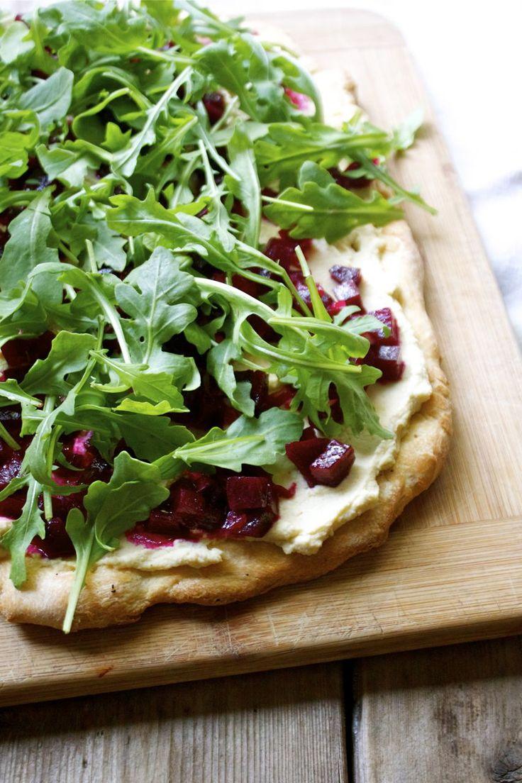 Beet & Hummus Flatbread with Arugula | Virtual Vegan Potluck - In Pursuit of More