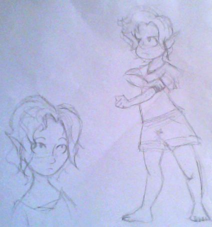 I have a sort of Skyrim OC that's like a half-Nord-Half-Wood-Elf, but shows more elf and is the Dovahkiin (Dragonborn) in my universe. This her at a young age, still growing up in Vaenwood. By the way, I've decided to name her Orlaith. :3