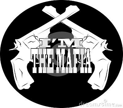 Vector drawing of a logo on the Mafia, with pistols and subtitles.
